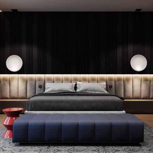 Luxury-Bedroom-Navy-Blue-Decorating-Ideas-Oversized-Headboard