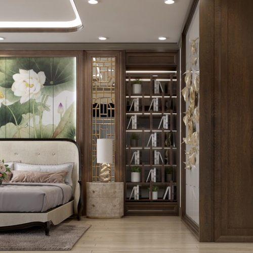 large-luxury-master-bedroom-with-flower-mural-behind-bed-dark-wood-panelling
